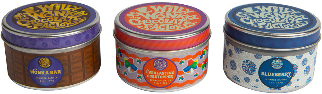 Willy Wonka and the Chocolate Factory Scented Tin Candle Set (Set of 3)