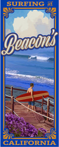 "Surfing at Beacon's Poster 14"" x 36"""