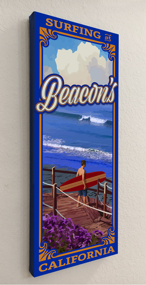 Surfing at Beacon's Giclée on Canvas