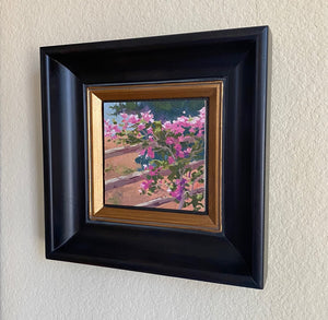 "Bougainvillea Study 6"" x 6"" Framed Oil on Canvas Board"