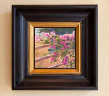 "Load image into Gallery viewer, Bougainvillea draped over a split rail fence. Oil on Canvas Board 6"" x 6"""