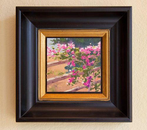 Bougainvillea draped over a split rail fence. Oil on Canvas Board 6