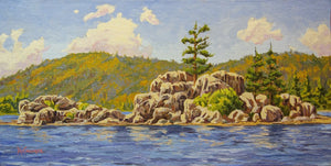 "Summer at Boulder Bay Big Bear Lake 24"" x 12"""
