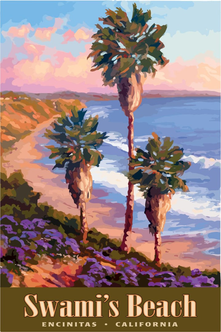 Classic California Swami's Beach Giclée Print on Fine Art Paper