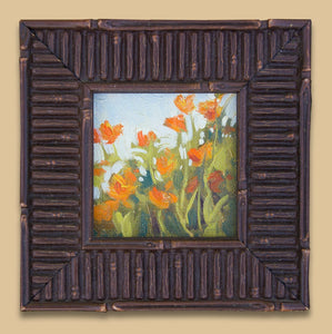 "A small 4"" x 4"" oil study of a group of California Poppies. Framed in a wood slatted frame."