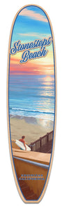 Stonesteps Beach in Encinitas, CA. A fine art Giclee printed on the shape of a longboard surfboard.