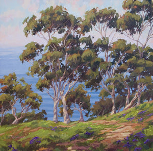 Eucalyptus and ocean in an impressionistic original oil painting by Jim McConlogue