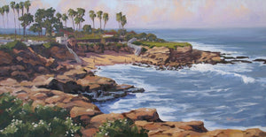 "Oil painting of La Jolla Cove. 36"" x 24"" oil on canvas. Impressionistic"