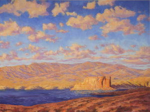 "Evening light on Lake Powell, oil on canvas, 48"" x 36"""
