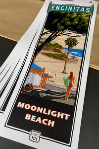 "Moonlight Beach Poster 14"" x 36"""