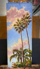 "Load image into Gallery viewer, Neighborhood Palms Original Oil on Linen 7"" x 17.5"""