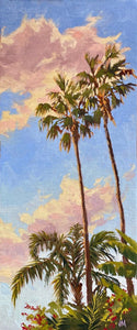 "Oil painting of Palms with a setting sun. 7"" x 17.5"""