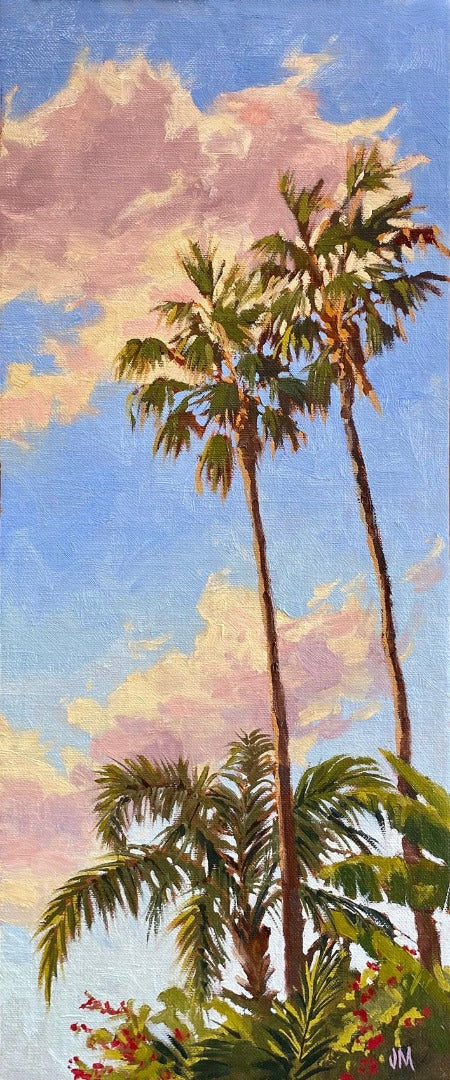 Oil painting of Palms with a setting sun. 7