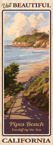 "Visit Beautiful Pipes Beach Poster 14"" x 36"""