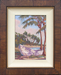 A ponga rest on the shore under the dappled light of palm trees. Tropical oil painting.