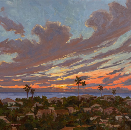 Sunset oil painting over the rooftops of Encinitas, California