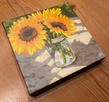 Load image into Gallery viewer, Sunflowers in a Jar Giclée on Canvas
