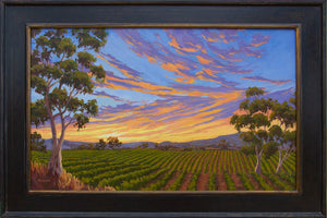 "Sunset on the Vineyard Original Oil Painting 24"" x 36"""