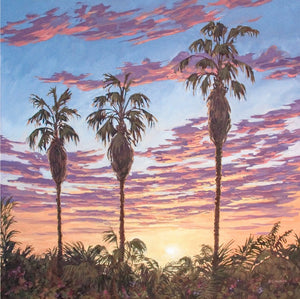 "Three Palm Sunset 48"" x 48"""
