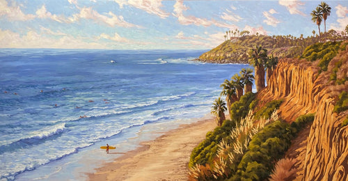 Commissioned Oil of Pipes Beach in Cardiff By the Sea California