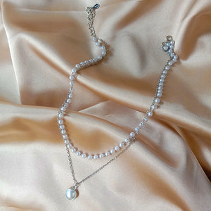 Double Layer Pearl Choker Necklace