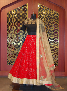 Black and Red Lehenga with golden dupatta