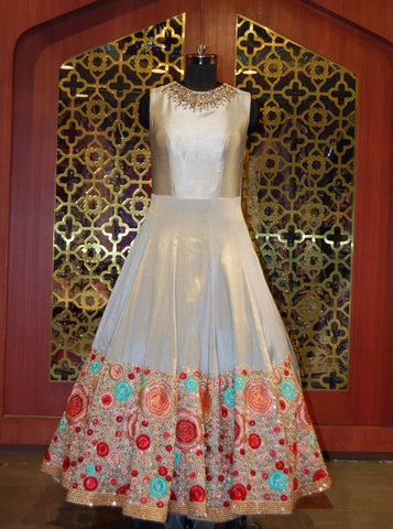 Powder Blue Embroidered Indowestern Silk Gown