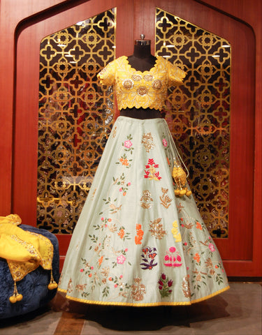 Yellow and Mint Embroidered Lehenga