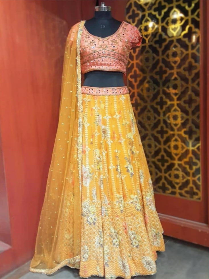 Mustard and Peach Lehenga with Floral Print and Embroideries