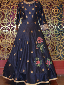 Prussian Blue Embroidered Silk Anarkali