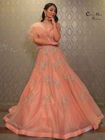 Powder Peach Embroidered Organza Gown With One Side Ruffled Sleeve
