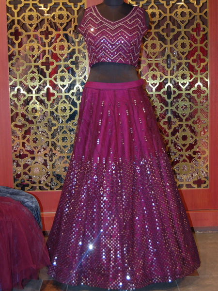 Wine net Lehenga with sequins and mirror work