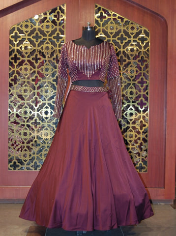 Chocolate Brown Sequined Satin Lehenga