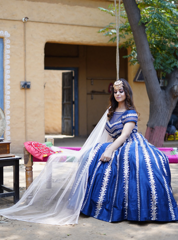 Royal Blue and Peach embellished Lehenga