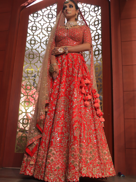 Red Bridal Lehenga with golden dupatta