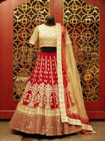 Maroon and Golden Bridal Lehenga
