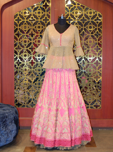 Pink Silk Embroidered skirt And Cream Sequined Net Peplum Top