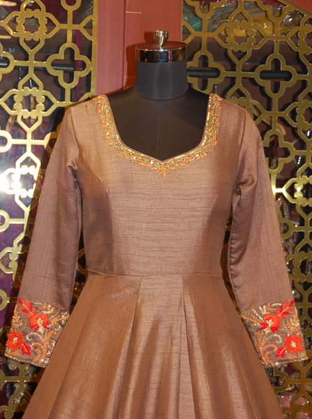 Brown silk scalloped border Anarkali with Organza duppatta