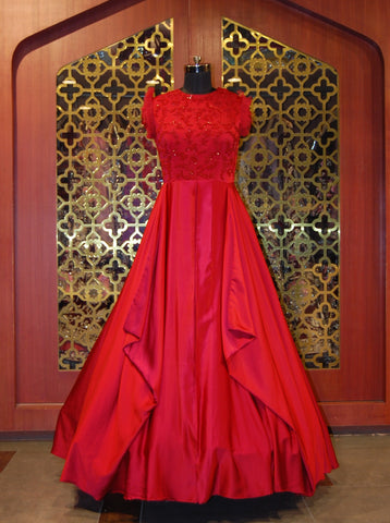 Scarlet Red satin embroidered gown