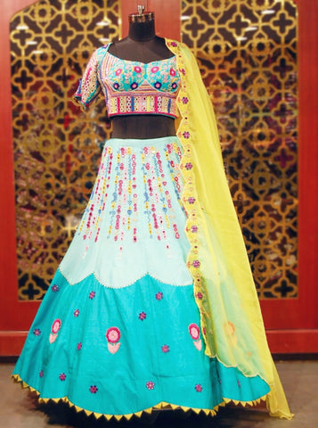 Sea-green and yellow multicolor embroidered Lehenga