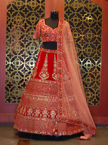 Red Lehenga Choli in Suede Velvet in Resham with Zari Embroidered Work