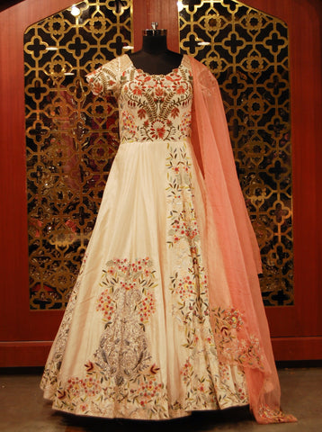 Off white heavily embroidered Anarkali with pink organza duppatta