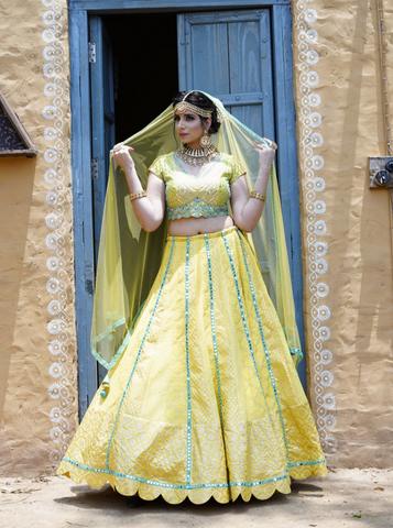 Lime Yellow Lehenga with mirror work