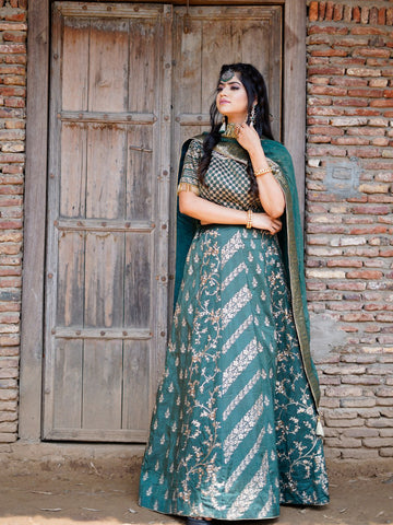Emerald Green Embroidered Silk Lehenga