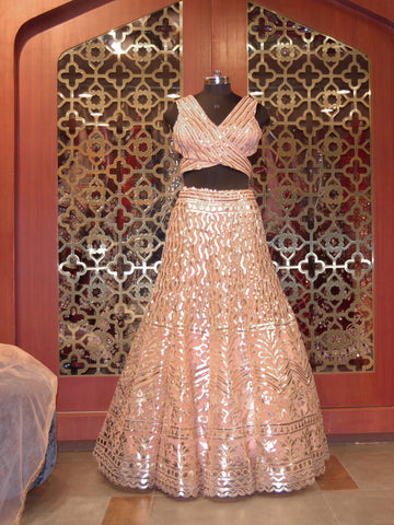 Dusty Pink Leather Applique Lehenga