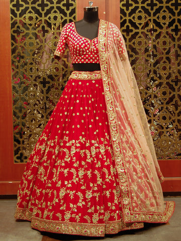 Corel Red Lehenga in Georgette with Resham and Zari Embroidered Work