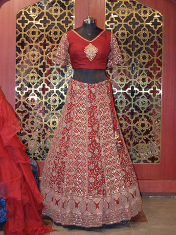 Maroon Georgette embroidered Lehenga