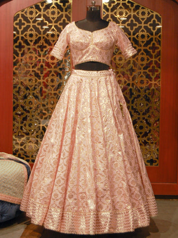 Pastel pink and sea green Banarasi Lehenga