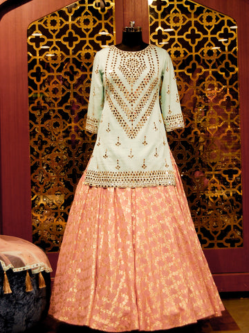 Flamingo pink Lehenga with mint shirt