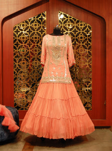 Pinkish Peach Georgette mirror work Lehenga